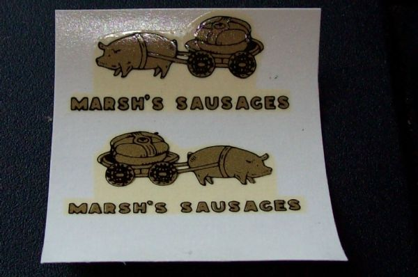 "Dinky Toys 28 Series Type 1 van 28k ""MARSH AND BAXTER'S SAUSAGES VAN"" Transfer Set TRANSFERS / DECALS"